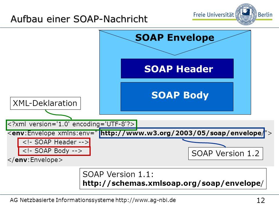 12 AG Netzbasierte Informationssysteme http://www.ag-nbi.de Aufbau einer SOAP-Nachricht SOAP Envelope SOAP Header SOAP Body SOAP Version 1.1: http://schemas.xmlsoap.org/soap/envelope/ SOAP Version 1.2 XML-Deklaration