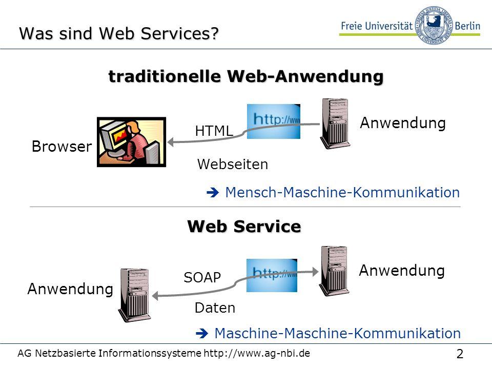 2 AG Netzbasierte Informationssysteme http://www.ag-nbi.de Was sind Web Services.