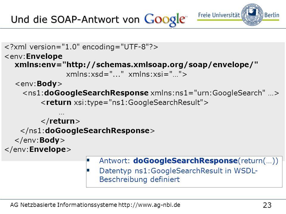 23 AG Netzbasierte Informationssysteme http://www.ag-nbi.de Und die SOAP-Antwort von <env:Envelope xmlns:env= http://schemas.xmlsoap.org/soap/envelope/ xmlns:xsd= ... xmlns:xsi= … > … doGoogleSearchResponse  Antwort: doGoogleSearchResponse(return(…))  Datentyp ns1:GoogleSearchResult in WSDL- Beschreibung definiert