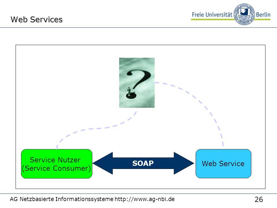 26 AG Netzbasierte Informationssysteme http://www.ag-nbi.de Web Services Web Service SOAP Service Nutzer (Service Consumer)