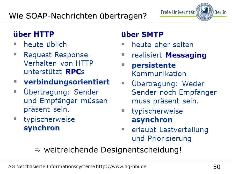 50 AG Netzbasierte Informationssysteme http://www.ag-nbi.de Wie SOAP-Nachrichten übertragen.