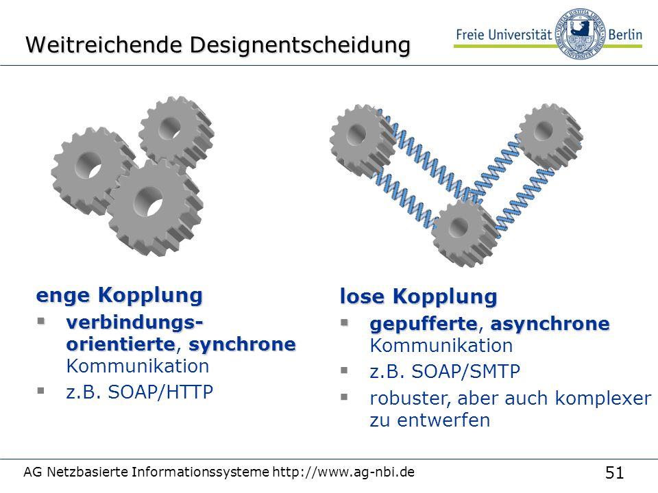 51 AG Netzbasierte Informationssysteme http://www.ag-nbi.de Weitreichende Designentscheidung enge Kopplung  verbindungs- orientiertesynchrone  verbindungs- orientierte, synchrone Kommunikation  z.B.