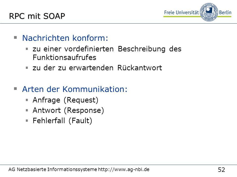 52 AG Netzbasierte Informationssysteme http://www.ag-nbi.de RPC mit SOAP  Nachrichten konform:  zu einer vordefinierten Beschreibung des Funktionsaufrufes  zu der zu erwartenden Rückantwort  Arten der Kommunikation:  Anfrage (Request)  Antwort (Response)  Fehlerfall (Fault)