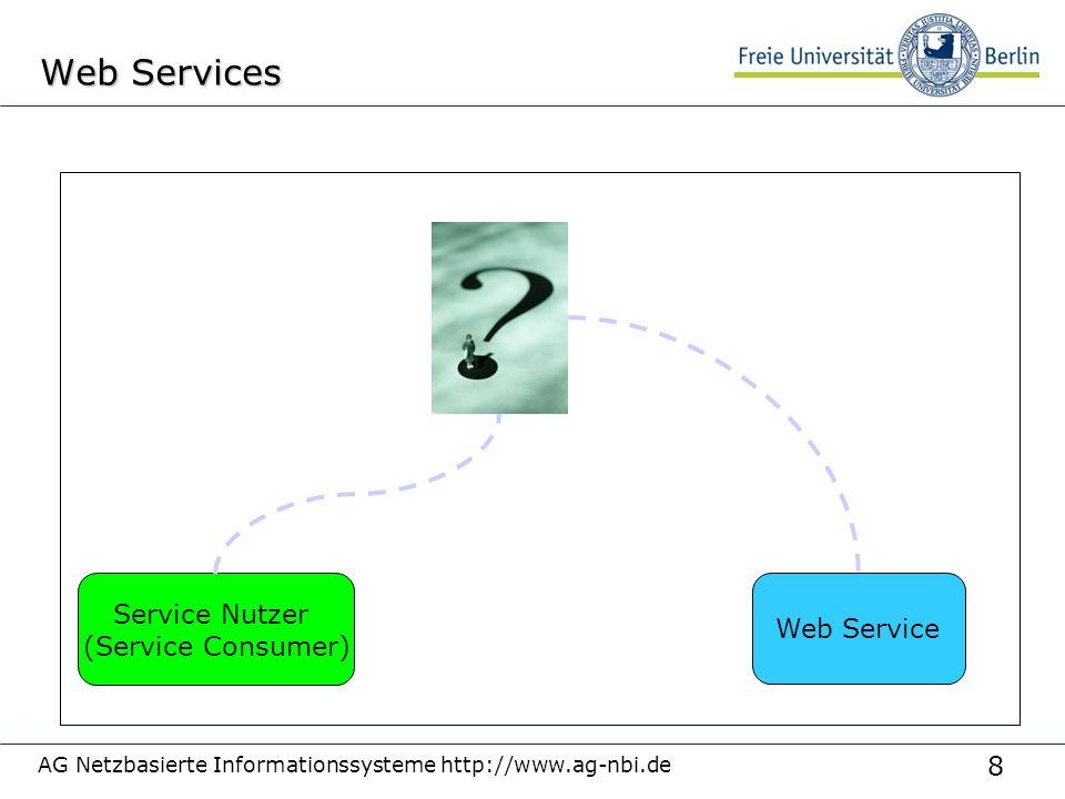 8 AG Netzbasierte Informationssysteme http://www.ag-nbi.de Web Services Web Service Service Nutzer (Service Consumer)