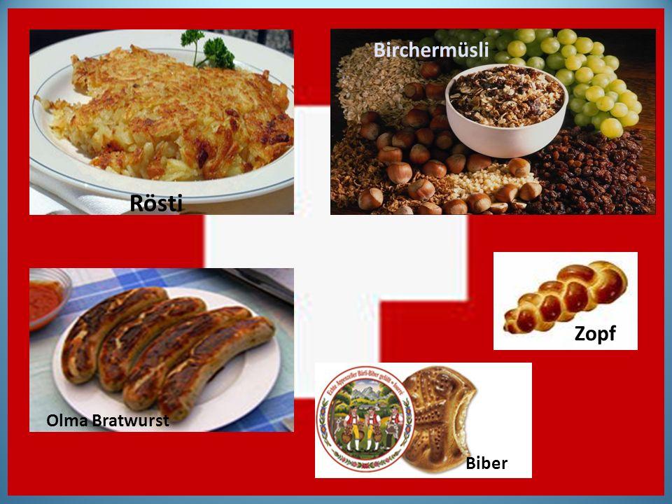 Rösti Birchermüsli Olma Bratwurst Zopf Biber
