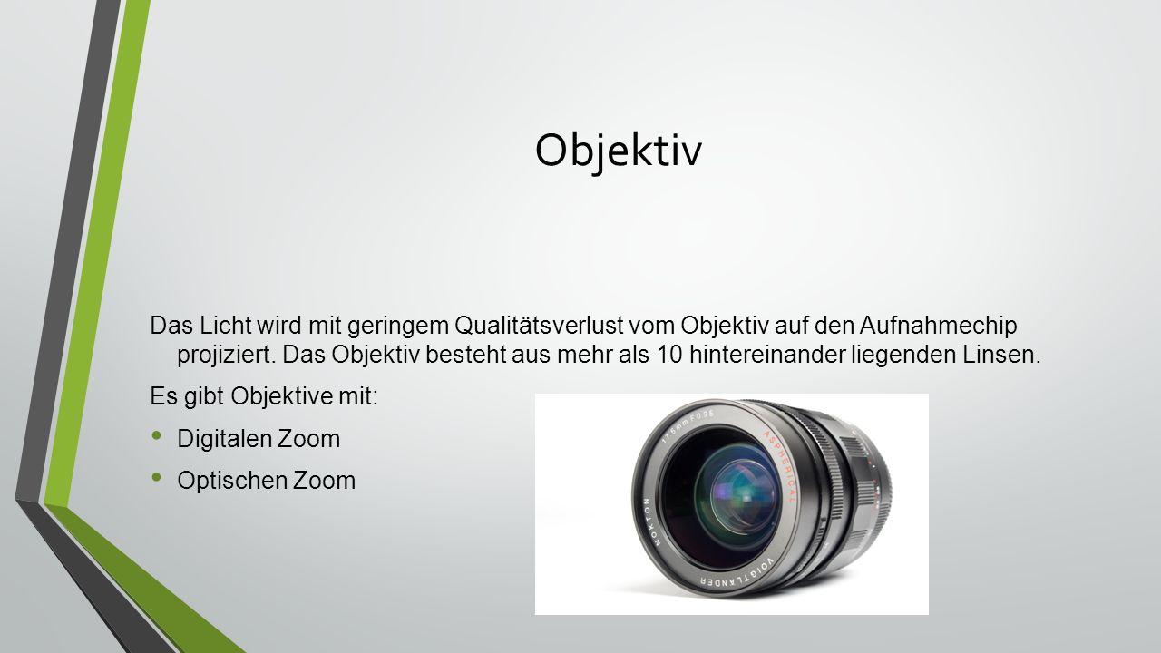 Objektiv Das Licht wird mit geringem Qualitätsverlust vom Objektiv auf den Aufnahmechip projiziert.