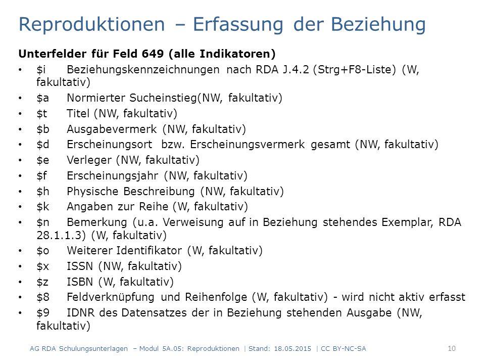 Reproduktionen – Erfassung der Beziehung Unterfelder für Feld 649 (alle Indikatoren) $iBeziehungskennzeichnungen nach RDA J.4.2 (Strg+F8-Liste) (W, fa