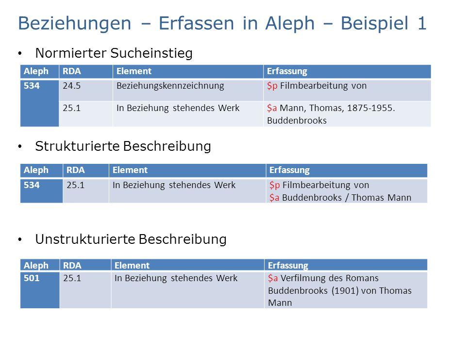 Beziehungen – Erfassen in Aleph – Beispiel 1 Normierter Sucheinstieg Strukturierte Beschreibung Unstrukturierte Beschreibung AlephRDAElementErfassung 53424.5Beziehungskennzeichnung$p Filmbearbeitung von 25.1In Beziehung stehendes Werk$a Mann, Thomas, 1875-1955.