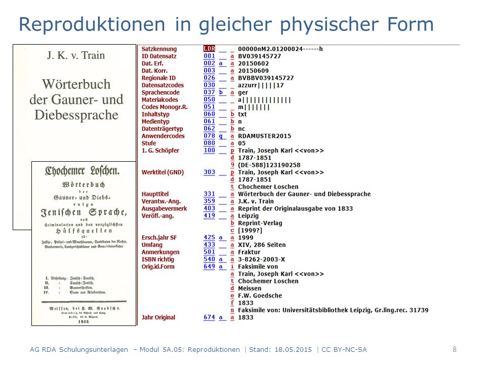 8 Reproduktionen in gleicher physischer Form AG RDA Schulungsunterlagen – Modul 5A.05: Reproduktionen | Stand: 18.05.2015 | CC BY-NC-SA