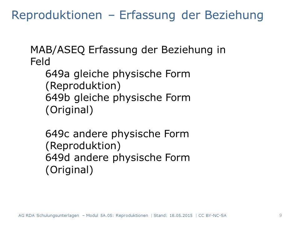9 Reproduktionen – Erfassung der Beziehung AG RDA Schulungsunterlagen – Modul 5A.05: Reproduktionen | Stand: 18.05.2015 | CC BY-NC-SA MAB/ASEQ Erfassu
