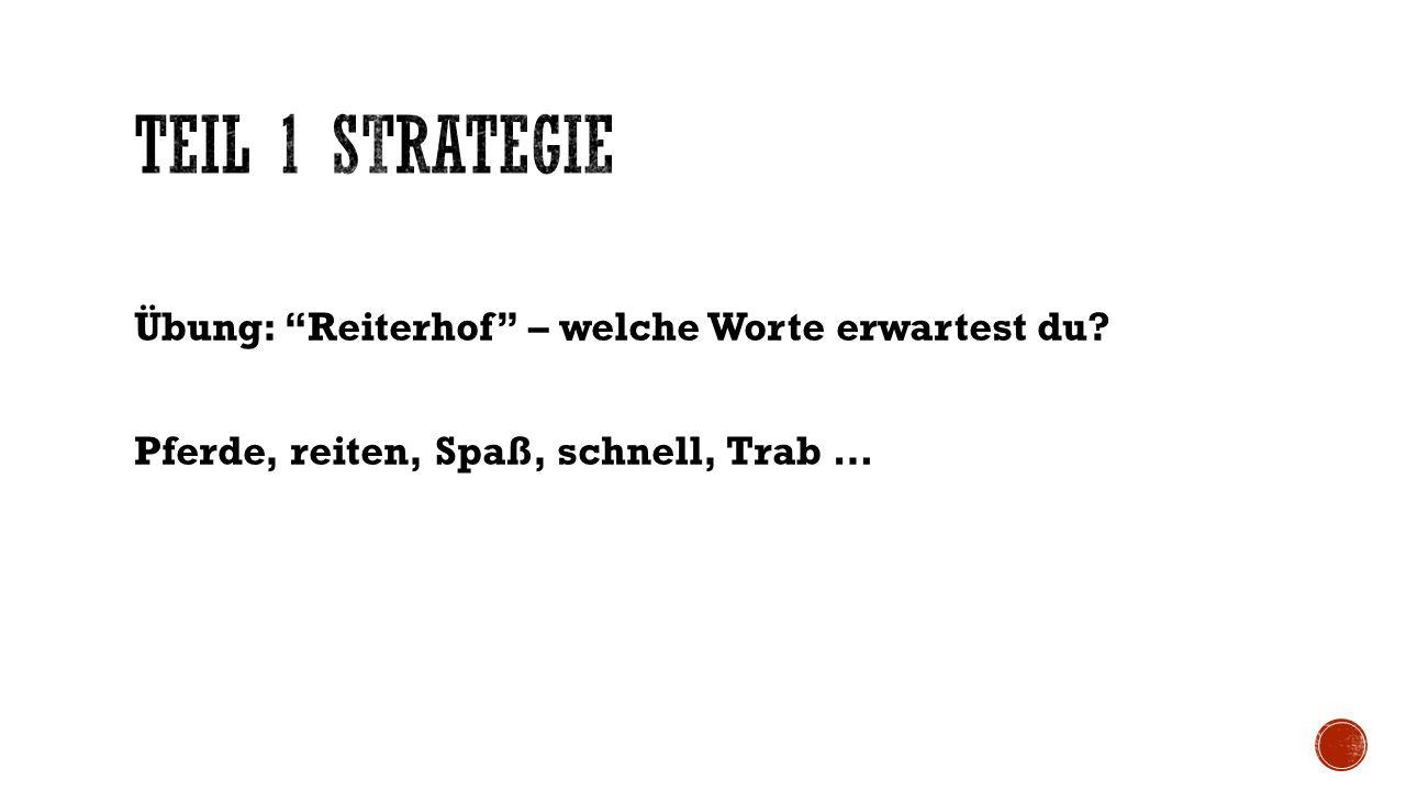 Aufgabe: Notiere zu jedem Thema 2 Wörter, die du erwartest zu lesen.