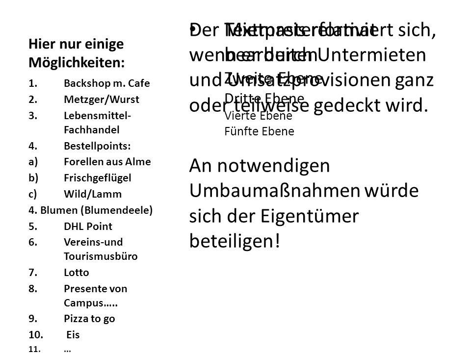 Textmasterformat bearbeiten Zweite Ebene Dritte Ebene Vierte Ebene Fünfte Ebene Hier nur einige Möglichkeiten: 1.Backshop m. Cafe 2.Metzger/Wurst 3.Le