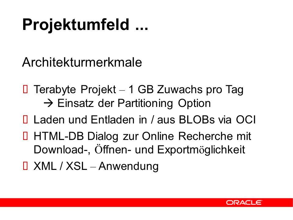 Projektumfeld...  Terabyte Projekt – 1 GB Zuwachs pro Tag  Einsatz der Partitioning Option  Laden und Entladen in / aus BLOBs via OCI  HTML-DB Dia