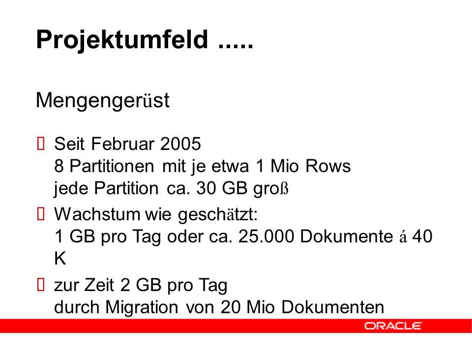 Projektumfeld.....  Seit Februar 2005 8 Partitionen mit je etwa 1 Mio Rows jede Partition ca. 30 GB gro ß  Wachstum wie gesch ä tzt: 1 GB pro Tag od