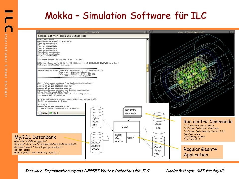Daniel Britzger, MPI für PhysikSoftware-Implementierung des DEPFET Vertex Detectors für ILC Mokka – Simulation Software für ILC MySQL Datenbank #include MySQLWrapper.hh Database* db = new Database(aSubDetectorName.data()); db->exec( select * from layer_parameters; ); db->getTuple(); G4int layerID = db->fetchInd( layerID ); Regular Geant4 Application Run control Commands /vis/drawTree world OGLIX /vis/viewer/set/style wireframe /vis/viewer/set/viewpointVector 1 1 1 /gun/particle e- /gun/energy 10 GeV /run/beamOn 1