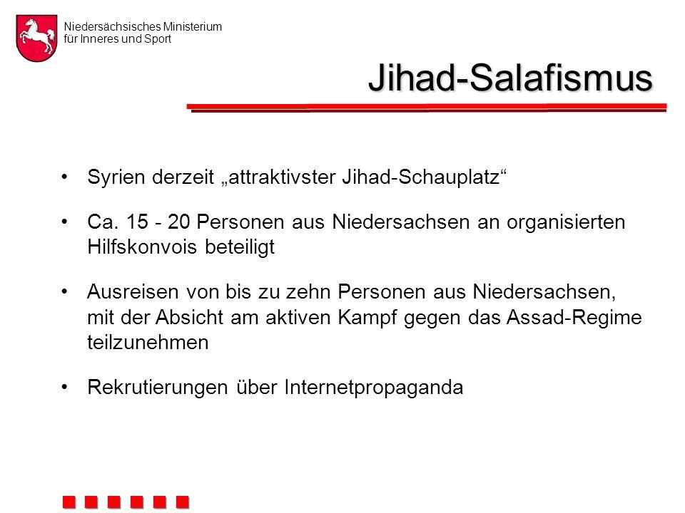"""Niedersächsisches Ministerium für Inneres und Sport Jihad-Salafismus Syrien derzeit """"attraktivster Jihad-Schauplatz Ca."""