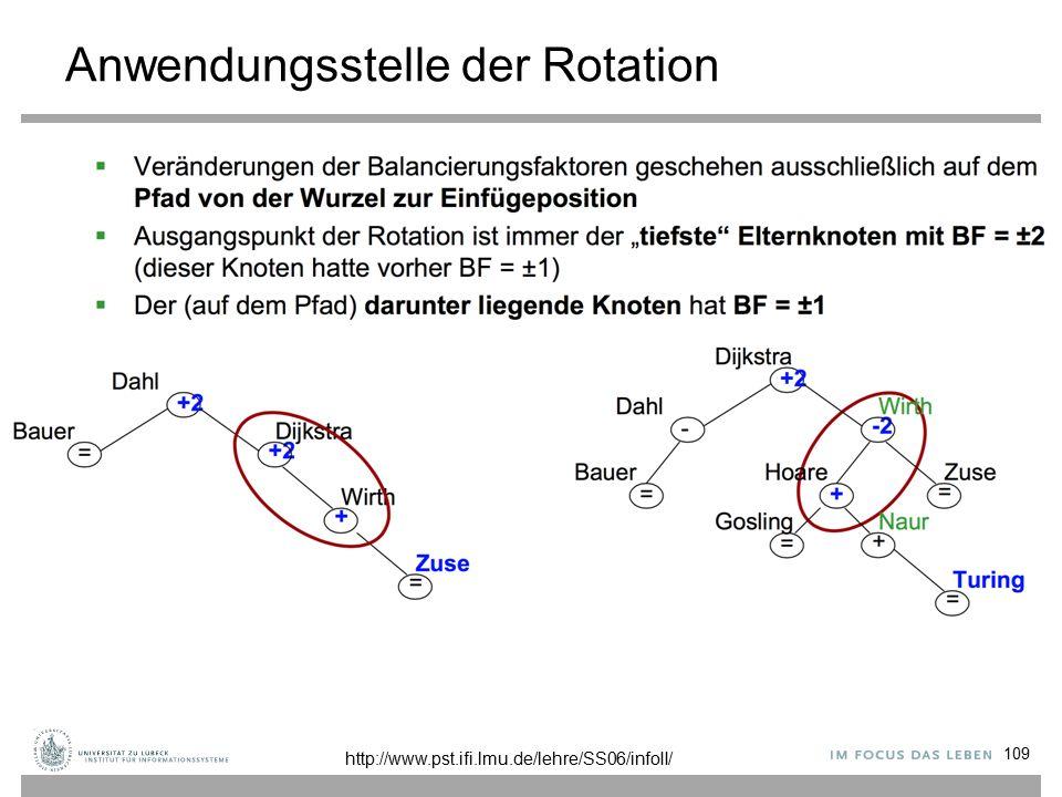 Anwendungsstelle der Rotation 109 http://www.pst.ifi.lmu.de/lehre/SS06/infoII/