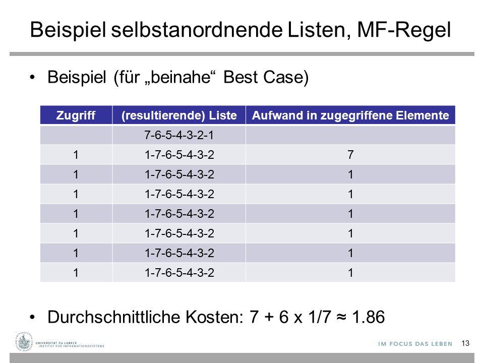 """Beispiel selbstanordnende Listen, MF-Regel Beispiel (für """"beinahe Best Case) Durchschnittliche Kosten: 7 + 6 x 1/7 ≈ 1.86 Zugriff(resultierende) ListeAufwand in zugegriffene Elemente 7-6-5-4-3-2-1 11-7-6-5-4-3-27 1 1 1 1 1 1 1 1 1 1 1 1 13"""