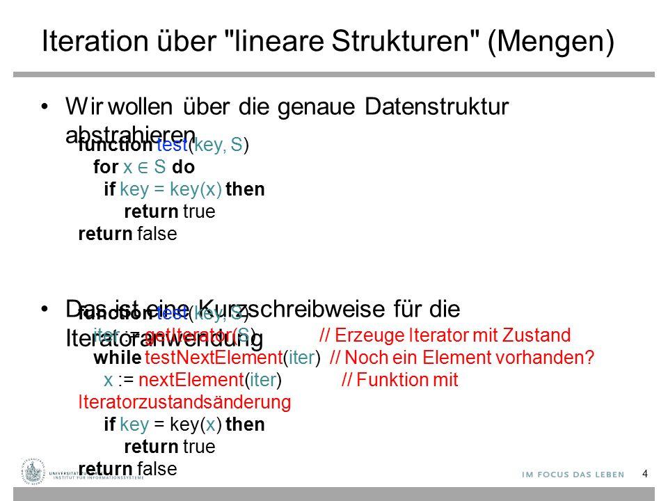 Iteration über lineare Strukturen (Mengen) Wir wollen über die genaue Datenstruktur abstrahieren Das ist eine Kurzschreibweise für die Iteratoranwendung 4 function test(key, S) for x ∈ S do if key = key(x) then return true return false function test(key, S) iter := getIterator(S) // Erzeuge Iterator mit Zustand while testNextElement(iter) // Noch ein Element vorhanden.