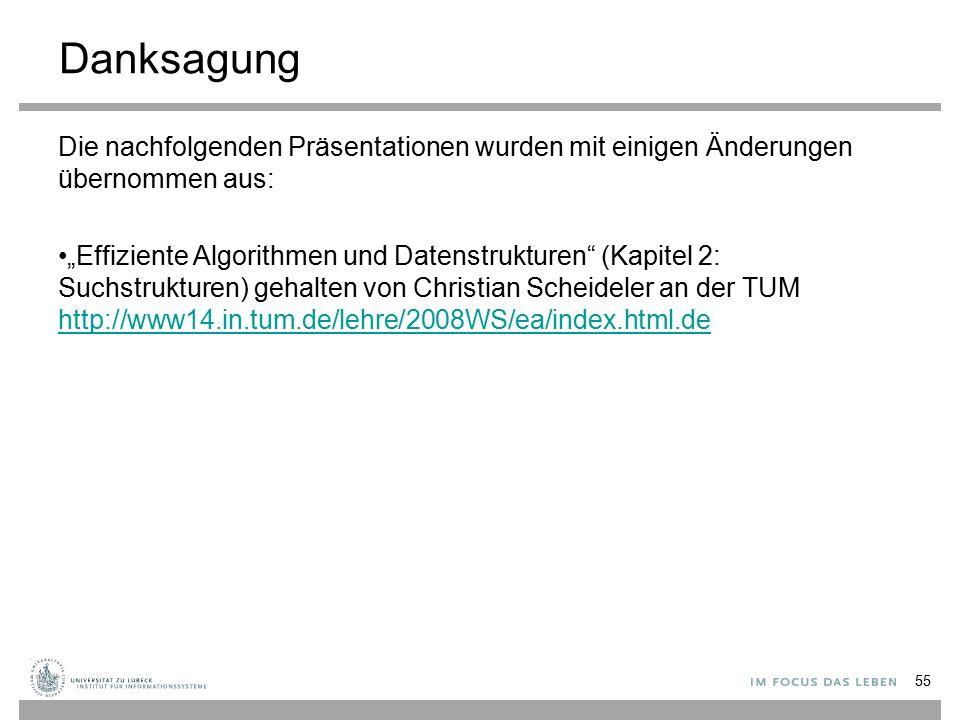 """Danksagung Die nachfolgenden Präsentationen wurden mit einigen Änderungen übernommen aus: """"Effiziente Algorithmen und Datenstrukturen (Kapitel 2: Suchstrukturen) gehalten von Christian Scheideler an der TUM http://www14.in.tum.de/lehre/2008WS/ea/index.html.de http://www14.in.tum.de/lehre/2008WS/ea/index.html.de 55"""