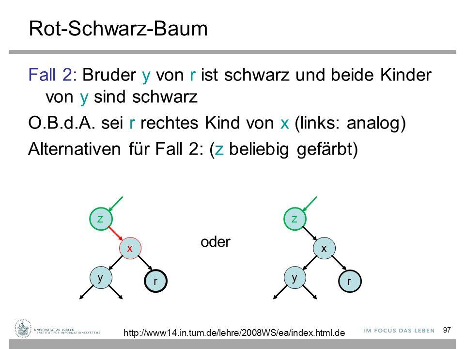97 Rot-Schwarz-Baum Fall 2: Bruder y von r ist schwarz und beide Kinder von y sind schwarz O.B.d.A.