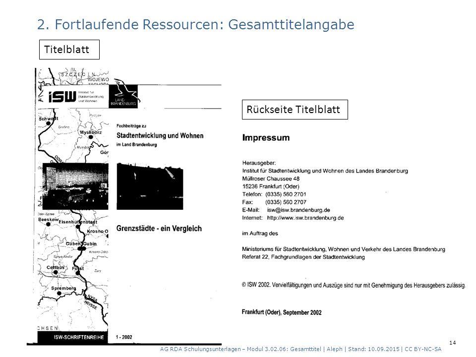 2. Fortlaufende Ressourcen: Gesamttitelangabe Rückseite Titelblatt Titelblatt AG RDA Schulungsunterlagen – Modul 3.02.06: Gesamttitel   Aleph   Stand: