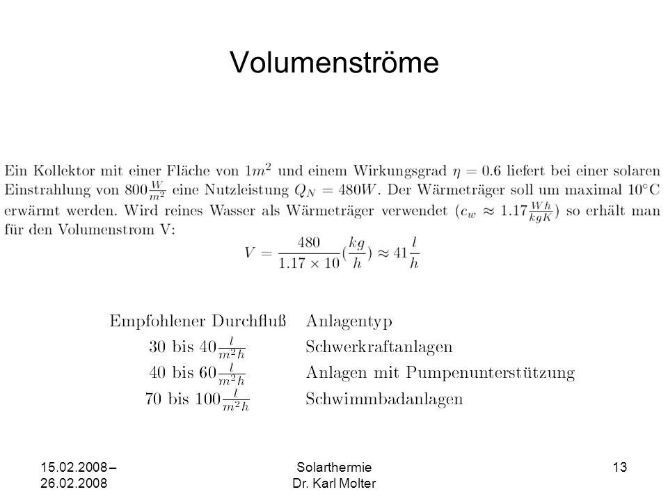 15.02.2008 – 26.02.2008 Solarthermie Dr. Karl Molter 13 Volumenströme