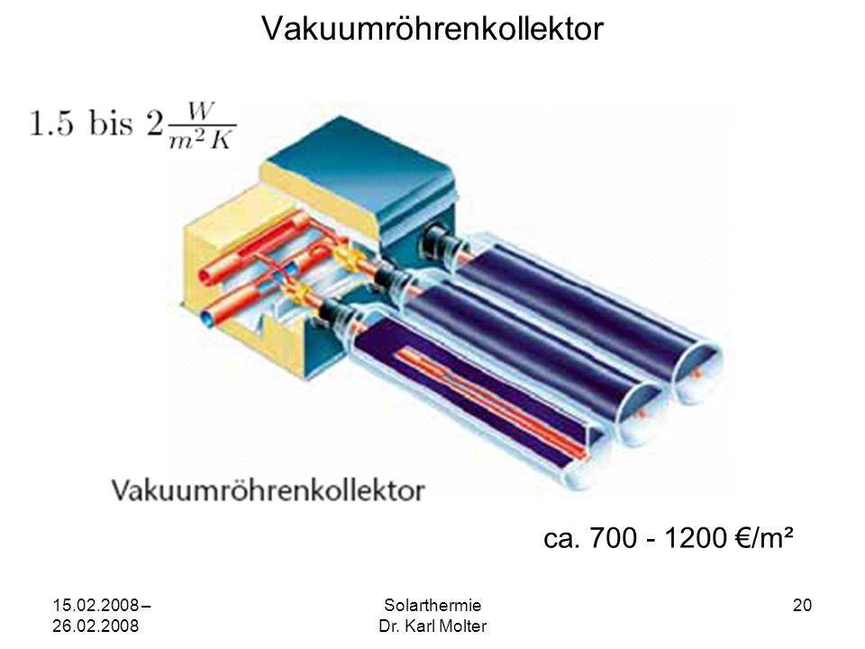 15.02.2008 – 26.02.2008 Solarthermie Dr. Karl Molter 20 Vakuumröhrenkollektor ca. 700 - 1200 €/m²