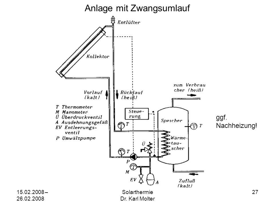 15.02.2008 – 26.02.2008 Solarthermie Dr. Karl Molter 27 Anlage mit Zwangsumlauf ggf. Nachheizung!