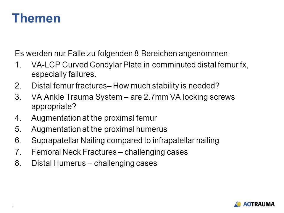 Themen Es werden nur Fälle zu folgenden 8 Bereichen angenommen: 1.VA-LCP Curved Condylar Plate in comminuted distal femur fx, especially failures.