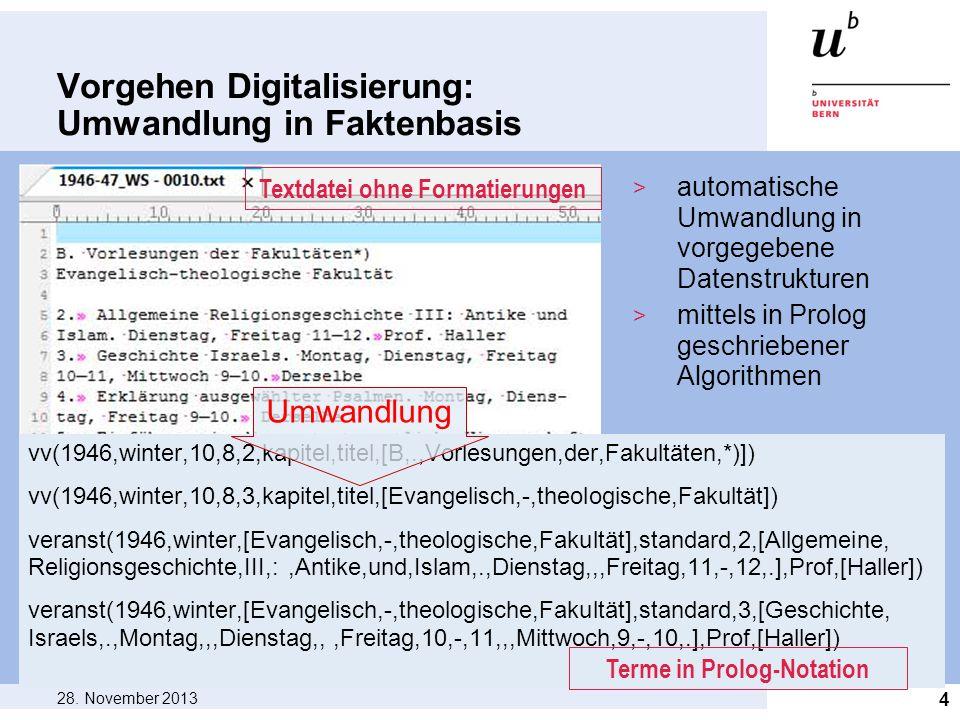 Vorgehen Digitalisierung: Umwandlung in Faktenbasis 28. November 2013 4 vv(1946,winter,10,8,2,kapitel,titel,[B,.,Vorlesungen,der,Fakultäten,*)]) vv(19