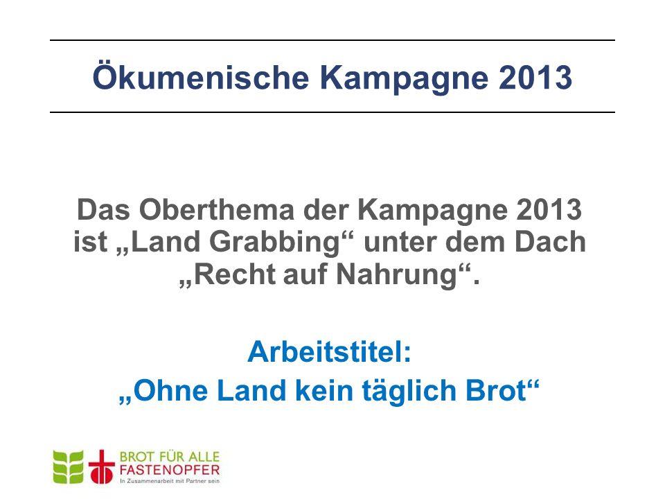 """Das Oberthema der Kampagne 2013 ist """"Land Grabbing"""" unter dem Dach """"Recht auf Nahrung"""". Arbeitstitel: """"Ohne Land kein täglich Brot"""""""