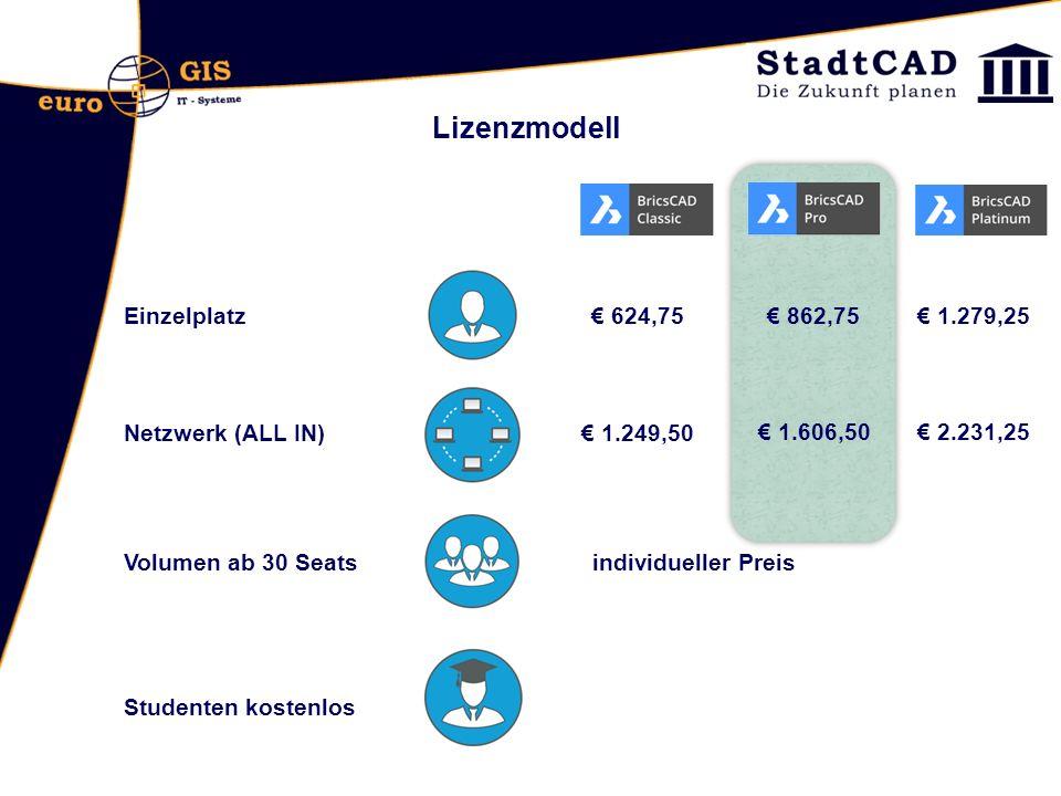 Einzelplatz Netzwerk (ALL IN) Volumen ab 30 Seats Lizenzmodell Studenten kostenlos € 624,75 € 1.249,50 individueller Preis € 862,75 € 1.606,50 € 1.279,25 € 2.231,25