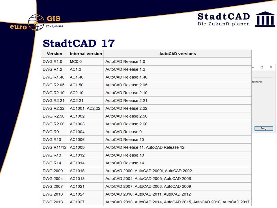 StadtCAD 17 StadtCAD 17 ist lauffähig auf - AutoCAD 2014 - AutoCAD 2015 - AutoCAD 2016 - AutoCAD 2017 - und den vertikalen Produkten AutoCAD Map 3D, AutoCAD Civil 3D und AutoCAD Architecture DWG-Formate: -2013er-Format (AC1027): 2013, 2014, 2015, 2016, 2017