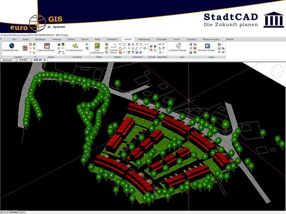 StadtCAD 17 Nutzungsschablone: Bei Zuweisung der Daten an eine Fläche kann ein Auswahlsatz aus mehreren Flächen gebildet werden Nutzungsschablone: Mehrzeilige Texte möglich
