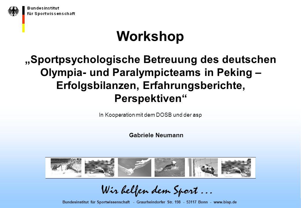 Workshop - Bonn, 10.12.2008 Bundesinstitut für Sportwissenschaft - Graurheindorfer Str.
