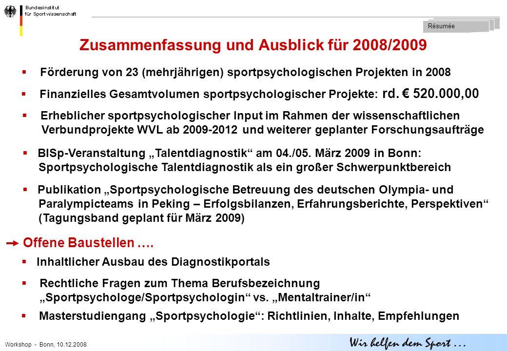 Workshop - Bonn, 10.12.2008  Förderung von 23 (mehrjährigen) sportpsychologischen Projekten in 2008 Zusammenfassung und Ausblick für 2008/2009 Résumée  Finanzielles Gesamtvolumen sportpsychologischer Projekte: rd.