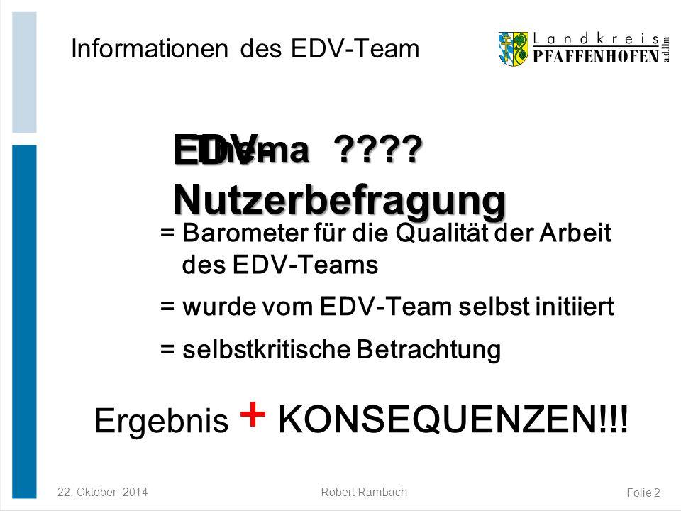 22. Oktober 2014Robert Rambach Folie 2 Thema ???? Informationen des EDV-Team EDV- Nutzerbefragung = Barometer für die Qualität der Arbeit des EDV-Team