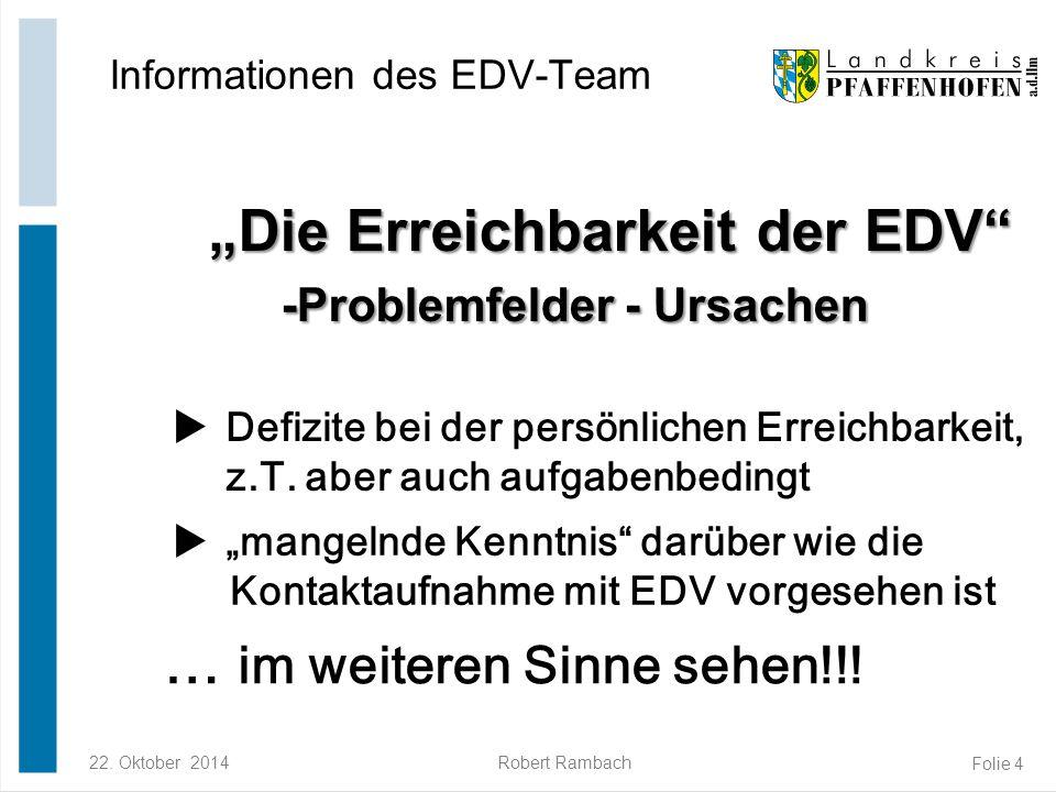"""22. Oktober 2014Robert Rambach Folie 4 """"Die Erreichbarkeit der EDV"""" -Problemfelder - Ursachen """"Die Erreichbarkeit der EDV"""" -Problemfelder - Ursachen I"""