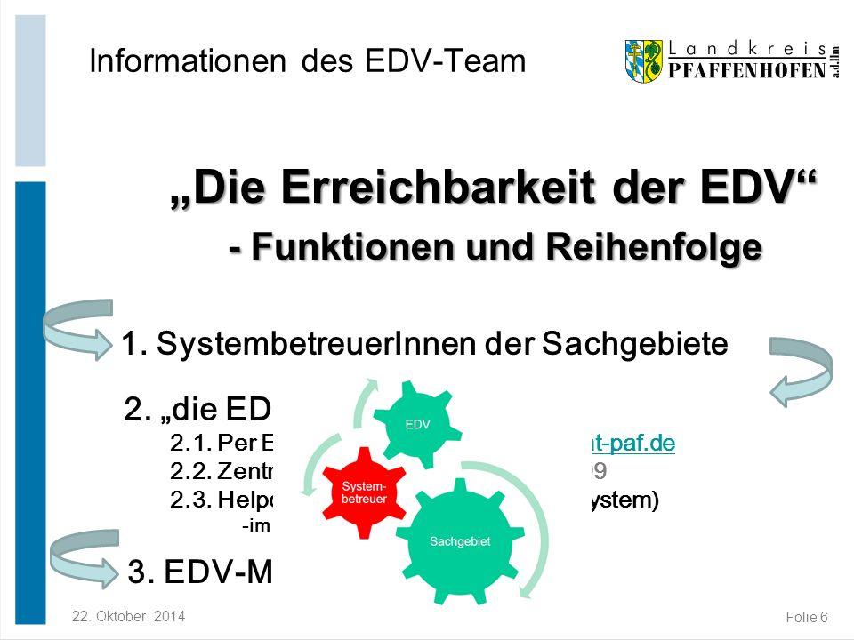 """22. Oktober 2014Robert Rambach Folie 6 """"Die Erreichbarkeit der EDV"""" - Funktionen und Reihenfolge """"Die Erreichbarkeit der EDV"""" - Funktionen und Reihenf"""