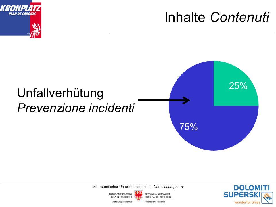 Mit freundlicher Unterstützung von | Con il sostegno di Inhalte Contenuti Unfallverhütung Prevenzione incidenti