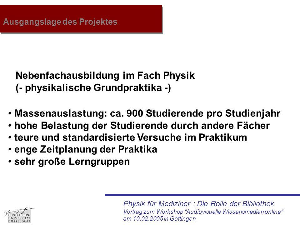 """Physik für Mediziner : Die Rolle der Bibliothek Vortrag zum Workshop """"Audiovisuelle Wissensmedien online"""" am 10.02.2005 in Göttingen Ausgangslage des"""