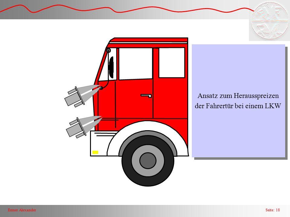 Seite: 19Ermer Alexander Entlasgungsschnitte in der A - Säule, im Schweller unterhalb der Fahrertür und falls erforderlich auch in den Verstärkungselementen der Frontpartie oder Konsole