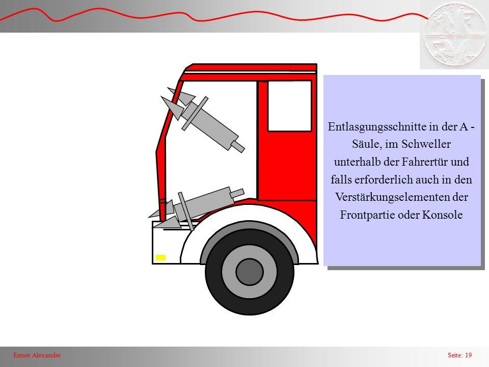Seite: 19Ermer Alexander Entlasgungsschnitte in der A - Säule, im Schweller unterhalb der Fahrertür und falls erforderlich auch in den Verstärkungsele