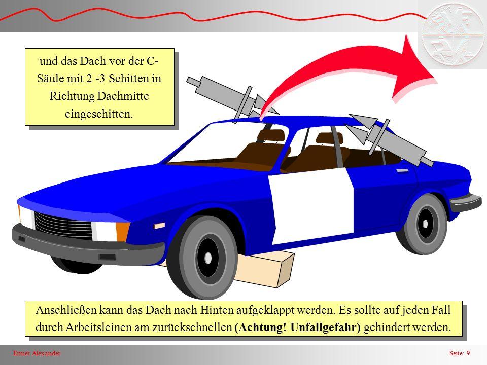 Seite: 9Ermer Alexander Anschließen kann das Dach nach Hinten aufgeklappt werden. Es sollte auf jeden Fall durch Arbeitsleinen am zurückschnellen (Ach
