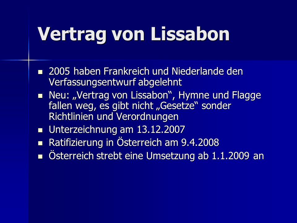 """Vertrag von Lissabon 2005 haben Frankreich und Niederlande den Verfassungsentwurf abgelehnt 2005 haben Frankreich und Niederlande den Verfassungsentwurf abgelehnt Neu: """"Vertrag von Lissabon , Hymne und Flagge fallen weg, es gibt nicht """"Gesetze sonder Richtlinien und Verordnungen Neu: """"Vertrag von Lissabon , Hymne und Flagge fallen weg, es gibt nicht """"Gesetze sonder Richtlinien und Verordnungen Unterzeichnung am 13.12.2007 Unterzeichnung am 13.12.2007 Ratifizierung in Österreich am 9.4.2008 Ratifizierung in Österreich am 9.4.2008 Österreich strebt eine Umsetzung ab 1.1.2009 an Österreich strebt eine Umsetzung ab 1.1.2009 an"""