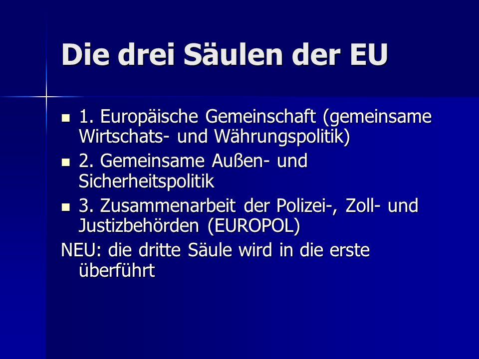 Die drei Säulen der EU 1. Europäische Gemeinschaft (gemeinsame Wirtschats- und Währungspolitik) 1.
