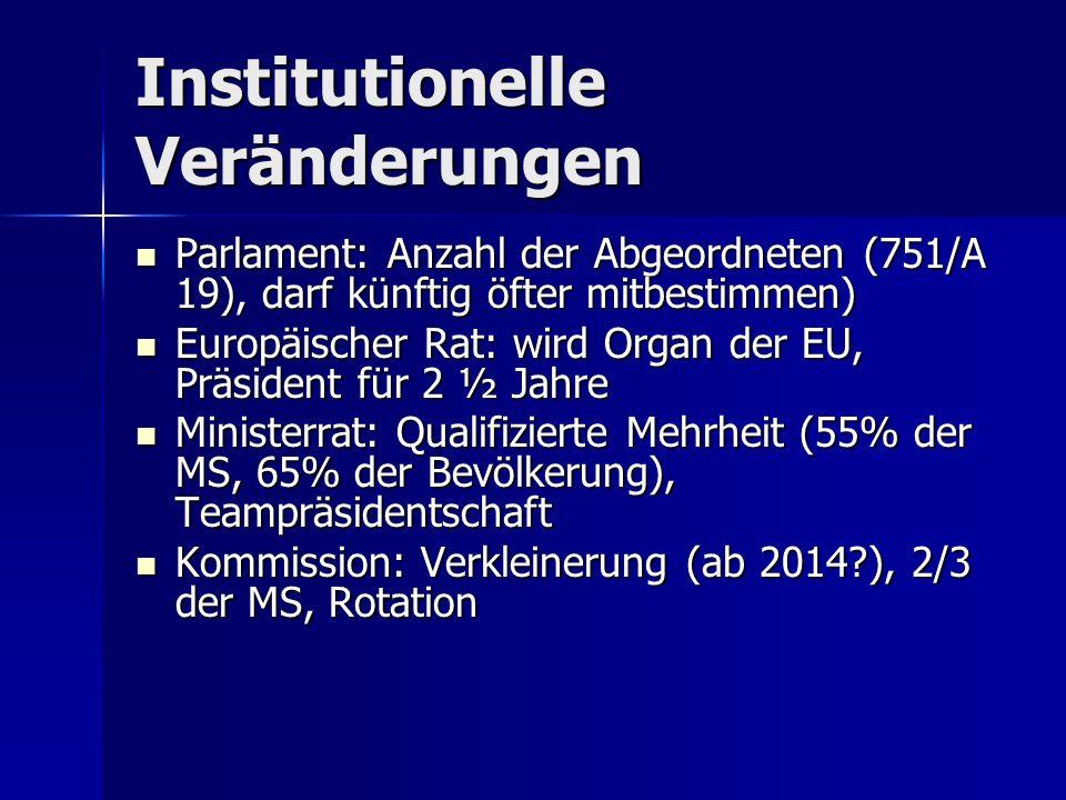 Institutionelle Veränderungen Parlament: Anzahl der Abgeordneten (751/A 19), darf künftig öfter mitbestimmen) Parlament: Anzahl der Abgeordneten (751/A 19), darf künftig öfter mitbestimmen) Europäischer Rat: wird Organ der EU, Präsident für 2 ½ Jahre Europäischer Rat: wird Organ der EU, Präsident für 2 ½ Jahre Ministerrat: Qualifizierte Mehrheit (55% der MS, 65% der Bevölkerung), Teampräsidentschaft Ministerrat: Qualifizierte Mehrheit (55% der MS, 65% der Bevölkerung), Teampräsidentschaft Kommission: Verkleinerung (ab 2014?), 2/3 der MS, Rotation Kommission: Verkleinerung (ab 2014?), 2/3 der MS, Rotation