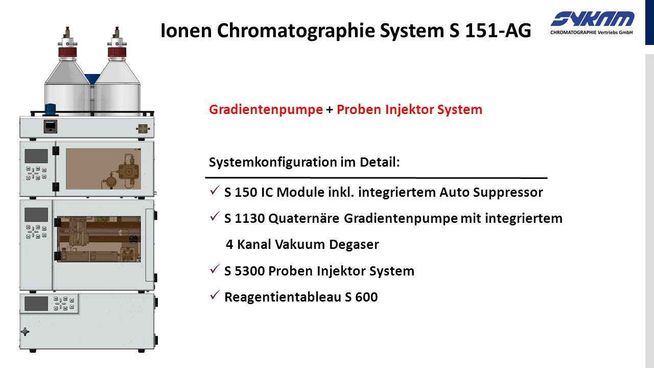 Ionen Chromatographie System S 151-AG Gradientenpumpe + Proben Injektor System Systemkonfiguration im Detail: S 150 IC Module inkl. integriertem Auto