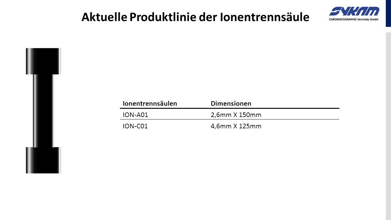 Aktuelle Produktlinie der Ionentrennsäule IonentrennsäulenDimensionen ION-A012,6mm X 150mm ION-C014,6mm X 125mm